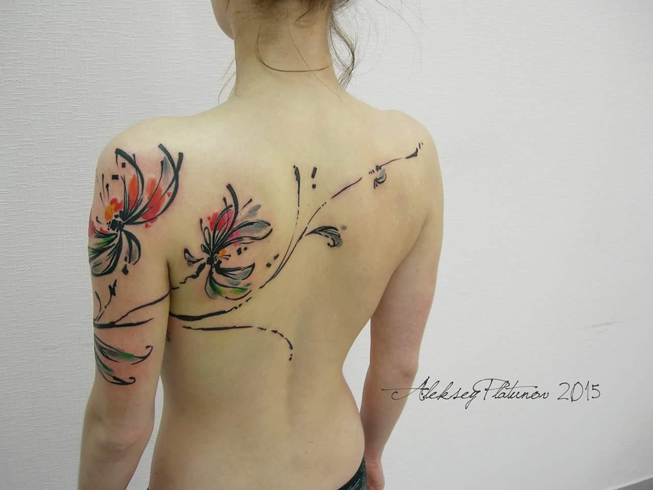 Flores Abstractas By Aleksey Platunov Tatuajes Para Mujeres