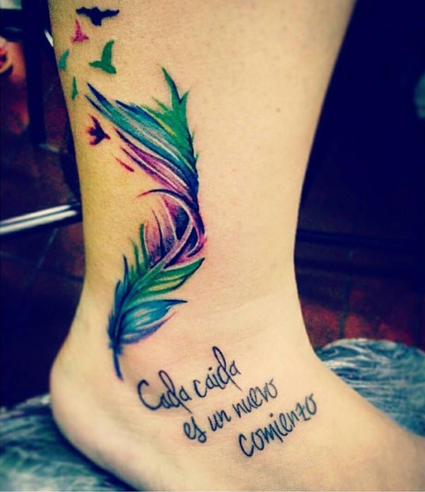 Frase Cada Caída Es Un Nuevo Comienzo Pluma Y Aves Tatuajes Para