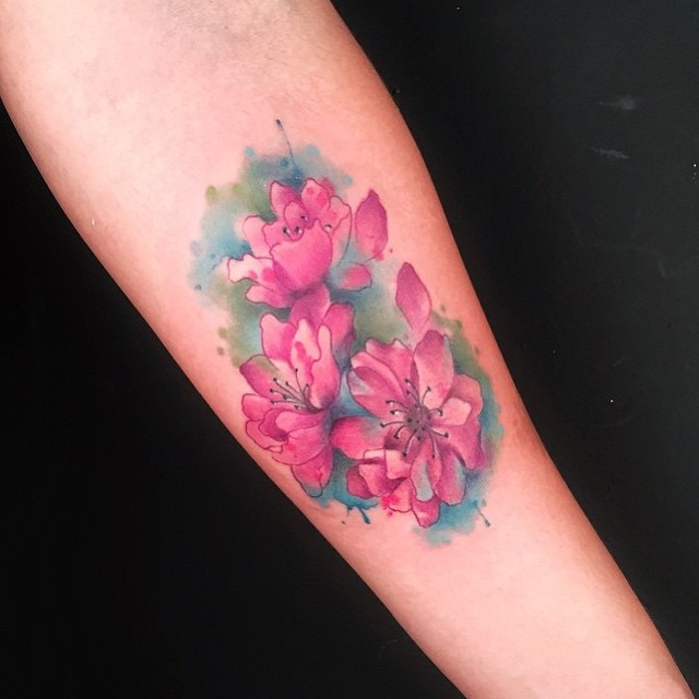 Flores De Cerezo Estilo Acuarelas Tatuajes Para Mujeres
