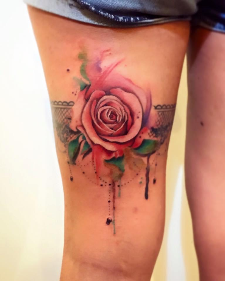 Liga Con Rosa Estilo Acuarelas Por Borà Tattoo Studio Tatuajes