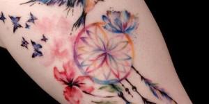 Atrapasueños, Flores y Aves estilo Acuarelas