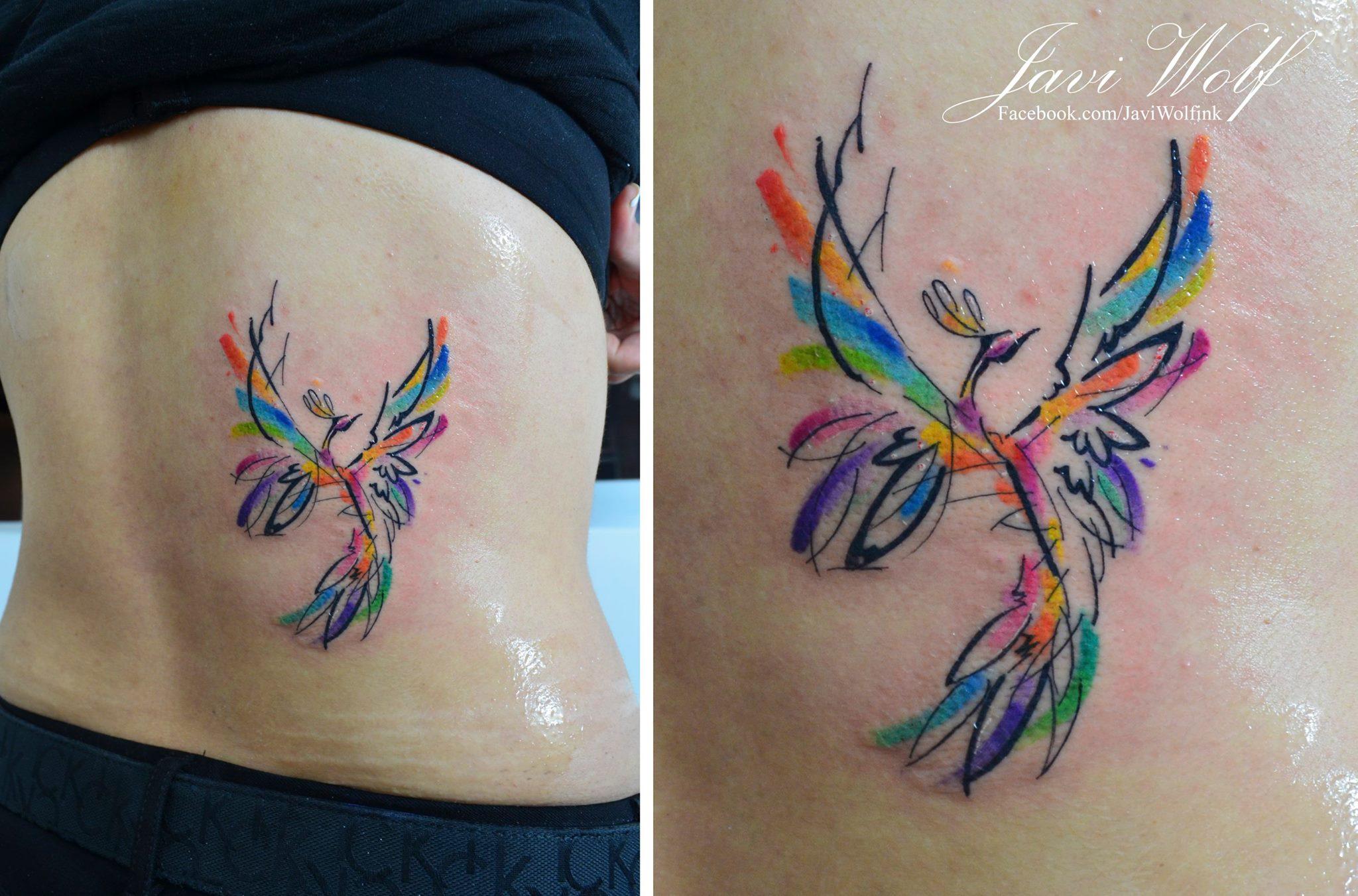 Ave Fénix Estilo Acuarelas Por Javi Wolf Tatuajes Para Mujeres