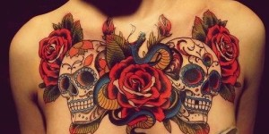 Calaveras con Flores Rosas