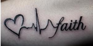 Corazón, Electrocardiograma y Frase: Faith