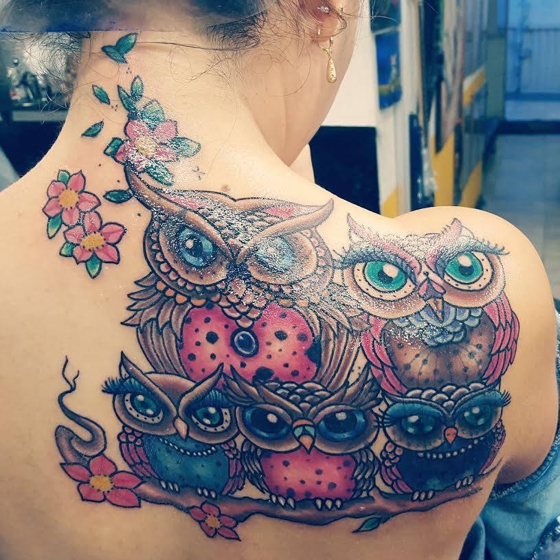 Familia De Búhos Tatuajes Para Mujeres