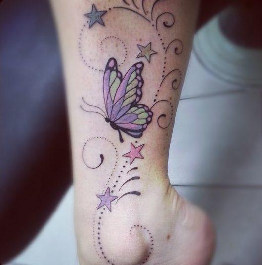 Mariposa estrellas y firuletes Tatuajes para Mujeres