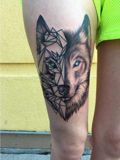 Lobo Estilo Geométrico Tatuajes Para Mujeres