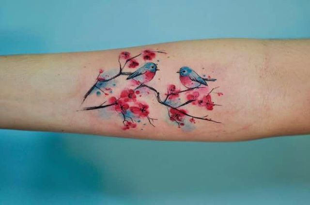 Flores De Cerezo Y Aves Tatuajes Para Mujeres