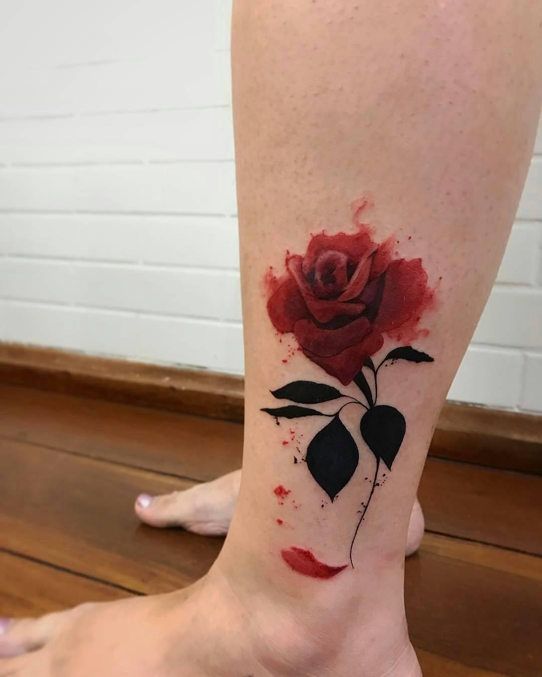 flor rosa roja por lcjunior tatuajes para mujeres. Black Bedroom Furniture Sets. Home Design Ideas