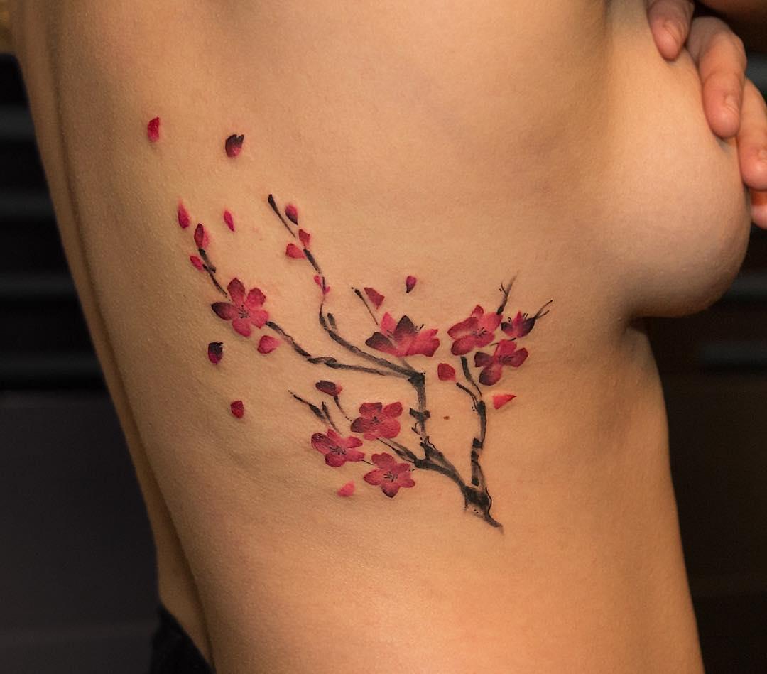 Flores De Cerezo Por Georgia Grey Tatuajes Para Mujeres