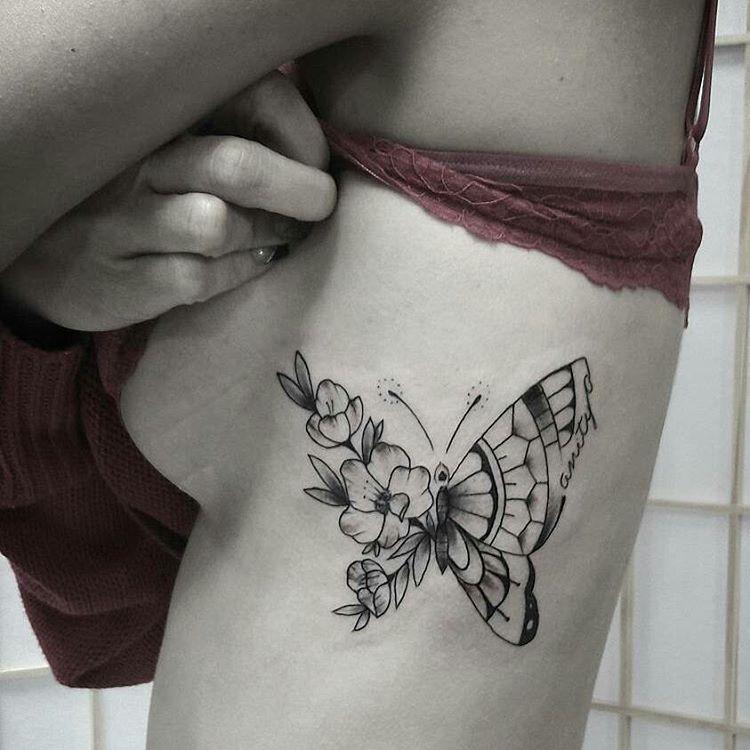 Mariposa Y Flores Tatuajes Para Mujeres - Tatuajes-mariposa