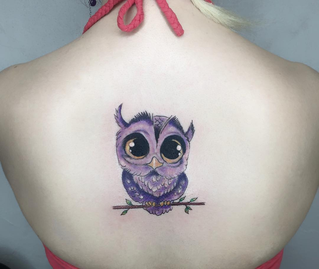 Buho Violeta Tatuajes Para Mujeres