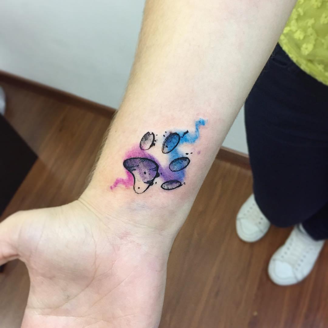 Huella Mascota Estilo Acuarelas Tatuajes Para Mujeres
