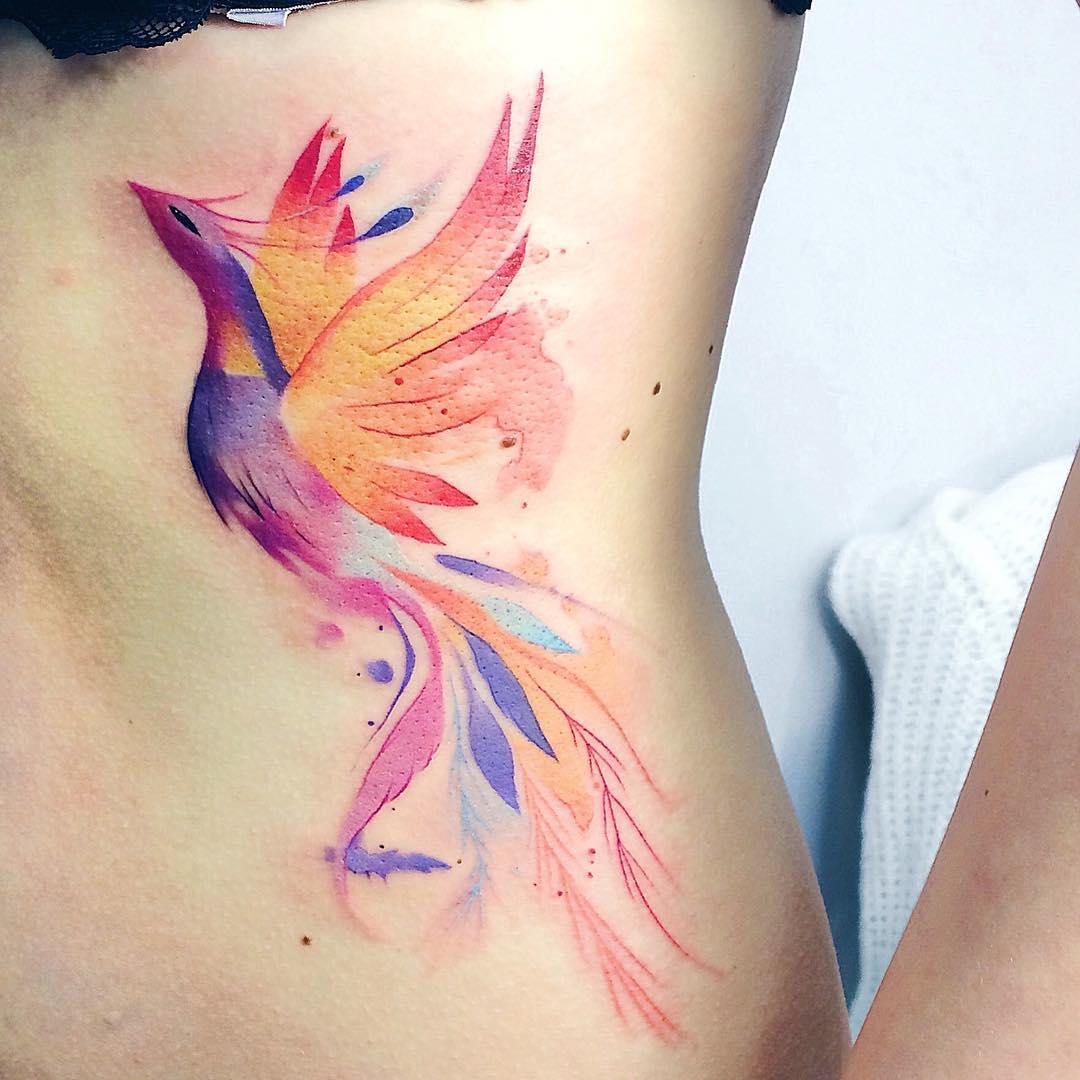 Ave Fénix Estilo Acuarelas Tatuajes Para Mujeres