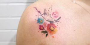 Colibrí y Flores estilo acuarelas por LCjunior