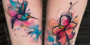 Colibrí y flor por Вика Kiwi Tattoo