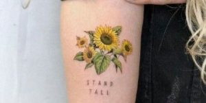 Girasoles y Frase: Stand tall