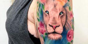 León con flores por LCjunior Tattoo