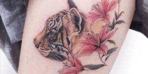 Tigre entre flores por Tattooist Greem