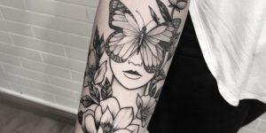Mujer ojos de mariposa