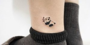 Oso panda con hojas de bambú