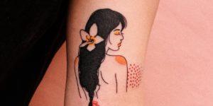 Silueta mujer con flor en el cabello por Nawon, Take My Muse