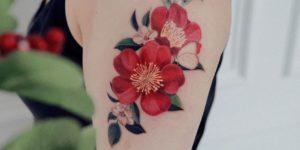 Flores rojas por Reindeer Ink Zihwa Hongdae