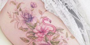 Flamenco y ramillete de flores por Mini Tattoo