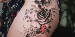 Flor Rosa y Diamante Rubí por Valery Tattoo