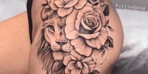 León y flores por Jai Cheong