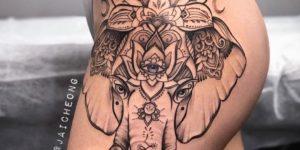 Elefante hindú con flor de loto por Jai Cheong