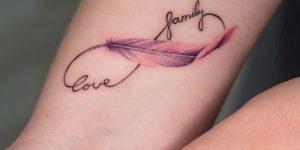 Signo Infinito formado por las frases: Love & Family y Pluma de Anna Botyk