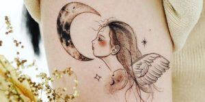 Ángel mirando la luna por Tattooist Dal