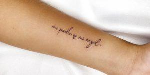 Frase: Mi padre es mi ángel por Alejo Gómez Tattoo Artist