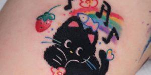 Gatita negra por Danyeong Tattoo