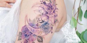 Luna y Flores por Tattooist Silo