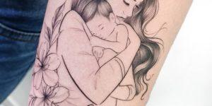 Madre abrazando a su hijo llamado Lorenzo por Sil Dobbins