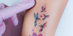 Frase: Ohana y Colibríes por Alynana Tattoos