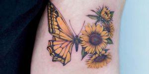 Metamorfosis de una mariposa a flores girasoles por Tattooist Color B